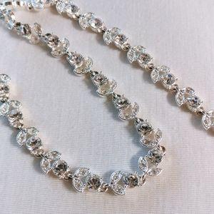 Napier Rhinestone Crystal Leaf Choker Necklace